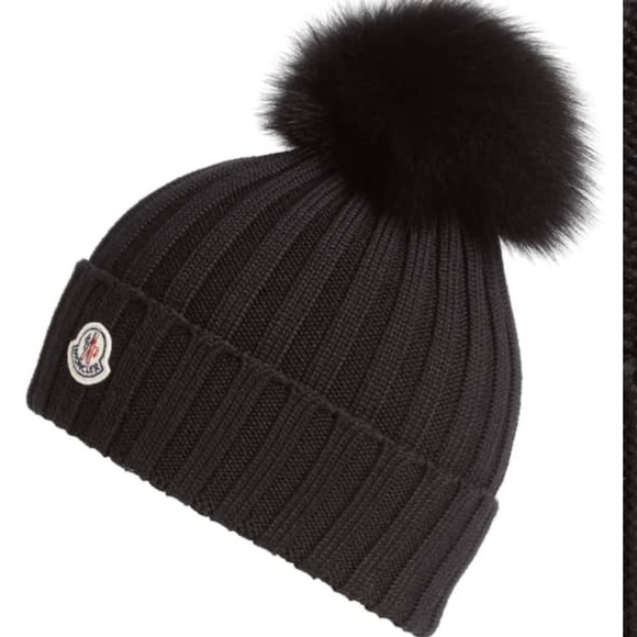 493ce2508d0 Moncler Genuine Fox Fur Pom Wool Beanie